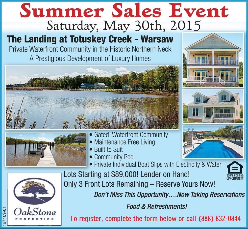 Landing at Totuskey, Summer Sales Event